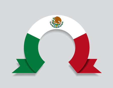 Mexican flag rounded ribbon abstract background. Vector illustration.