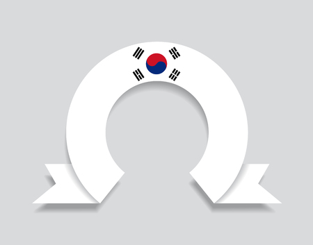 South Korean flag rounded ribbon abstract background. Vector illustration.