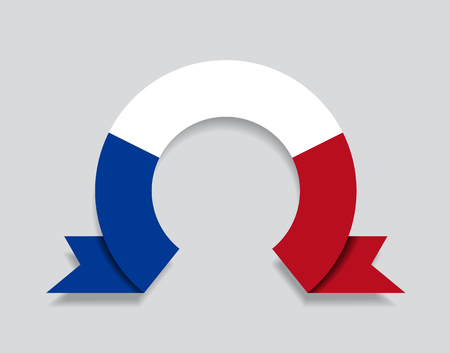 French flag rounded ribbon abstract background. Vector illustration.
