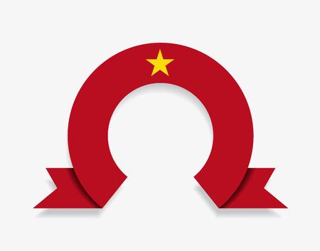 Vietnamese flag rounded ribbon abstract background. Vector illustration. Ilustração