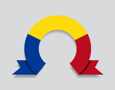 Romanian flag rounded ribbon abstract background. Vector illustration.