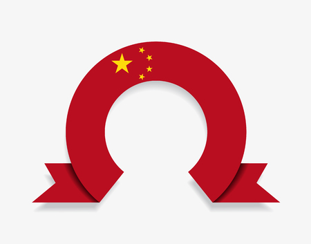 Chinese flag rounded ribbon abstract background. Vector illustration.