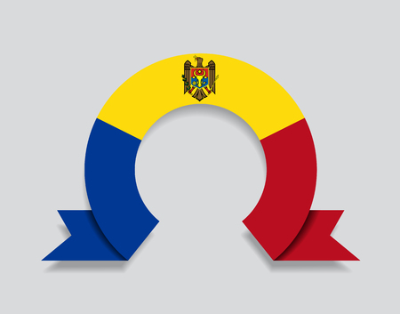 Moldovan flag rounded ribbon abstract background. Vector illustration.