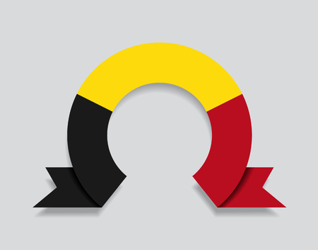 Belgian flag rounded ribbon abstract background. Vector illustration.