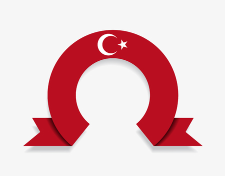 Turkish flag rounded ribbon abstract background. Vector illustration.