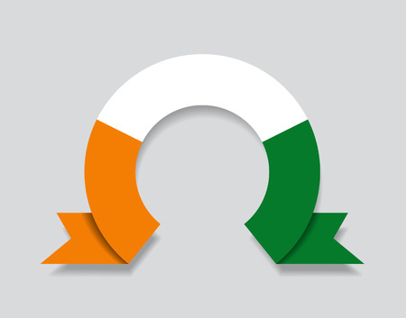 Ivorian flag rounded ribbon abstract background. Vector illustration.