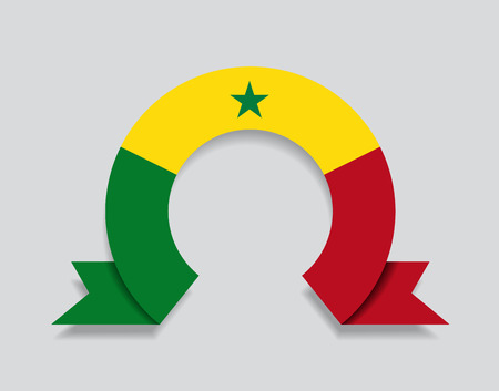 Senegalese flag rounded ribbon abstract background. Vector illustration. Ilustração