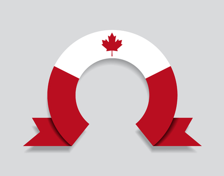 Canadian flag rounded ribbon abstract background. Vector illustration.