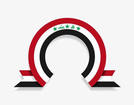 Iraqi flag rounded ribbon abstract background. Vector illustration.