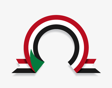 Sudanese flag rounded ribbon abstract background. Vector illustration.