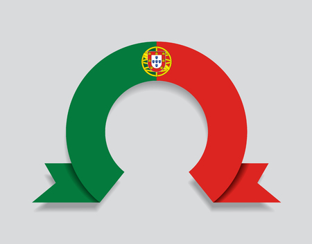 Portuguese flag rounded ribbon abstract background. Vector illustration.