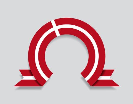 Danish flag rounded ribbon abstract background. Vector illustration. Ilustração