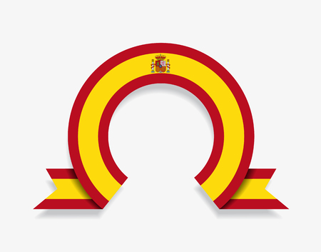 Spanish flag rounded ribbon abstract background. Vector illustration.
