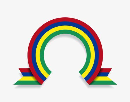 Mauritius flag rounded ribbon abstract background. Vector illustration. Ilustração
