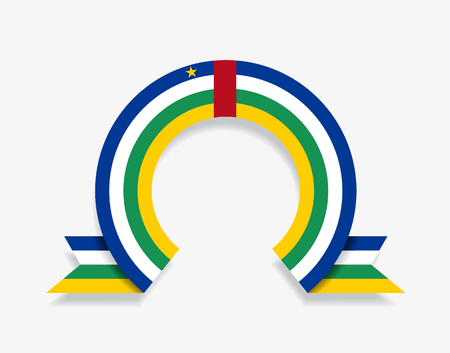 Central African Republic flag rounded ribbon abstract background. Vector illustration.