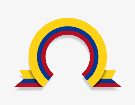 Colombian flag rounded ribbon abstract background. Vector illustration.