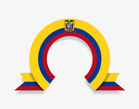 Ecuadorian flag rounded ribbon abstract background. Vector illustration.