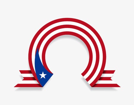 Puerto Rican flag rounded ribbon abstract background. Vector illustration.