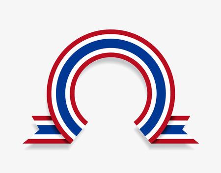 Thai flag rounded ribbon abstract background. Vector illustration. Ilustração