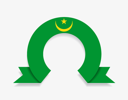 Mauritanian flag rounded ribbon abstract background. Vector illustration.