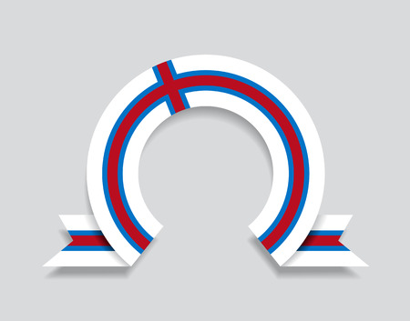 Faroe Islands flag rounded ribbon abstract background. Vector illustration.