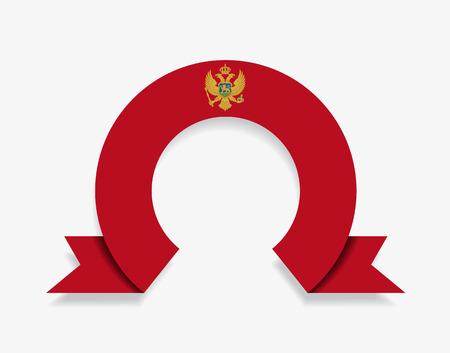 Montenegrian flag rounded ribbon abstract background. Vector illustration. Ilustração