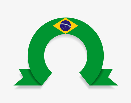 Brazilian flag rounded ribbon abstract background. Vector illustration.