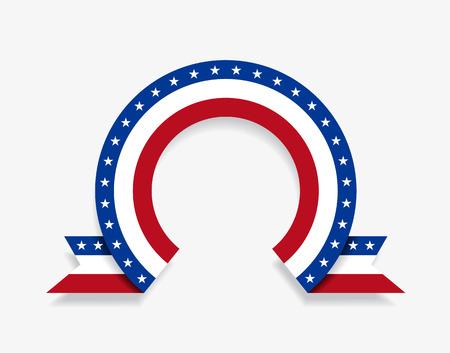 American flag rounded ribbon abstract background. Vector illustration. Ilustração