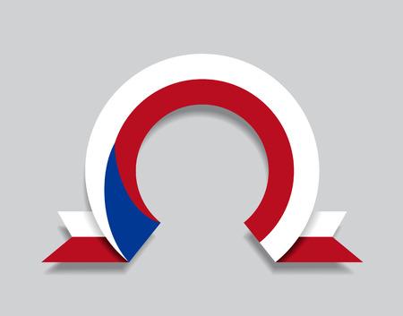 Czech flag rounded ribbon abstract background. Vector illustration. Ilustração