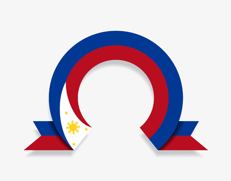 Philippines flag rounded ribbon abstract background. Vector illustration.