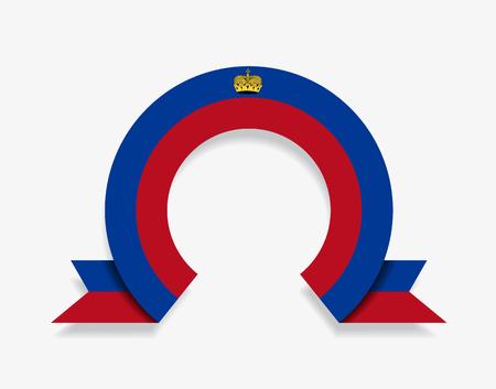 Liechtenstein flag rounded ribbon abstract background. Vector illustration.