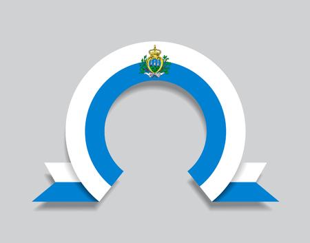 San Marino flag rounded ribbon abstract background. Vector illustration. Ilustração