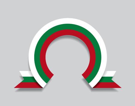 Bulgarian flag rounded ribbon abstract background. Vector illustration. Ilustração