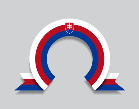 Slovak flag rounded ribbon abstract background. Vector illustration. Ilustração