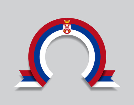 Serbian flag rounded ribbon abstract background. Vector illustration.