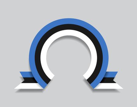 Estonian flag rounded ribbon abstract background. Vector illustration. Vektorgrafik