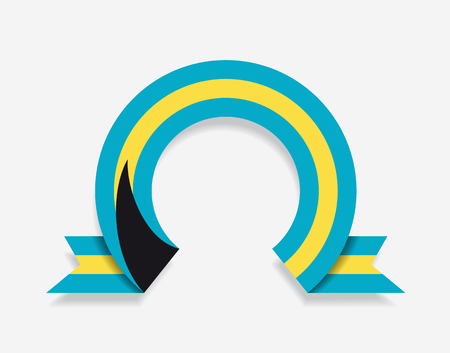 Bahamas flag rounded ribbon abstract background. Vector illustration.