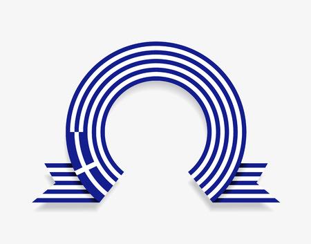 Greek flag rounded ribbon abstract background. Vector illustration. Ilustração
