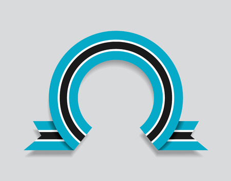 Botswana flag rounded ribbon abstract background. Vector illustration.