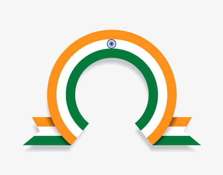 Indian flag rounded ribbon abstract background. Vector illustration.