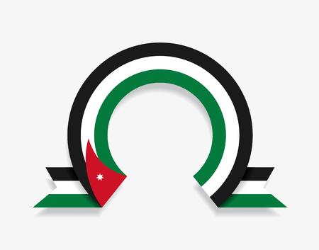 Jordanian flag rounded ribbon abstract background. Vector illustration. Ilustração