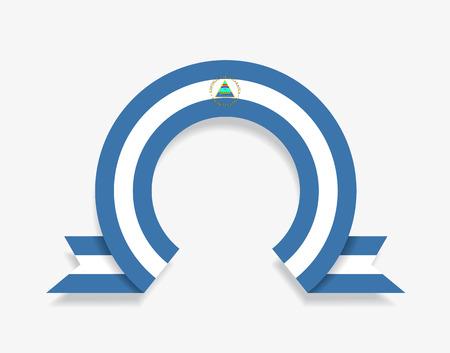 Nicaraguan flag rounded abstract background. Vector illustration. Ilustração