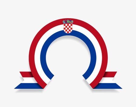Croatian flag rounded ribbon abstract background. Vector illustration.