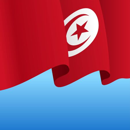 Tunisian flag wavy abstract background. Vector illustration.