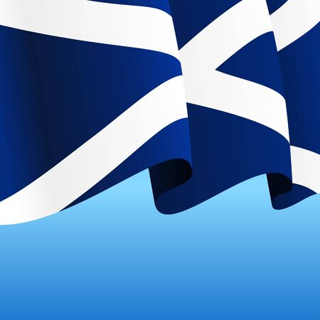 Scottish flag wavy abstract background. Vector illustration.