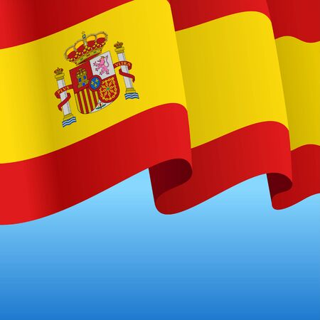 Spanish flag wavy abstract background. Vector illustration.