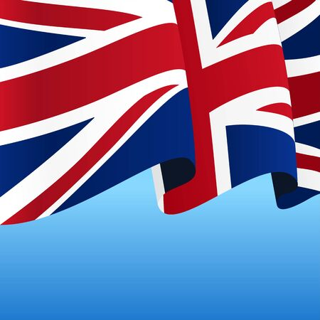 Great Britain flag wavy abstract background. Vector illustration.