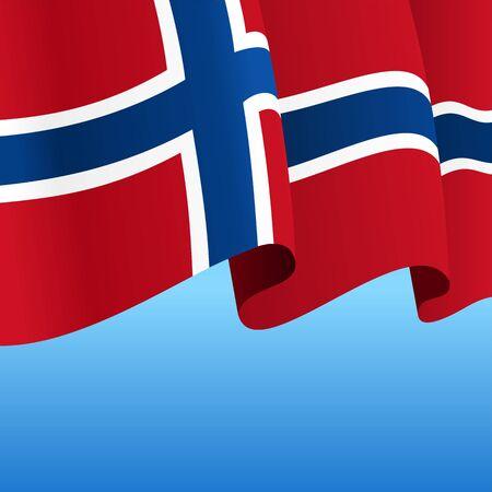 Norwegian flag wavy abstract background. Vector illustration. Çizim