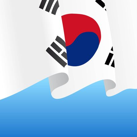 South Korean flag wavy abstract background. Vector illustration.