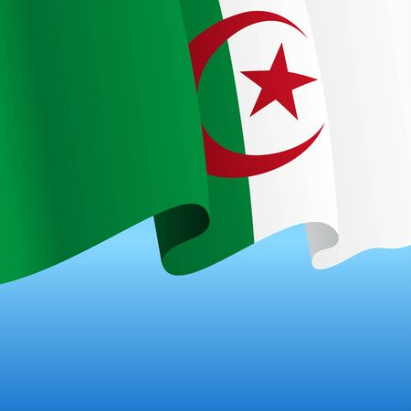 Algerian flag wavy abstract background. Vector illustration.